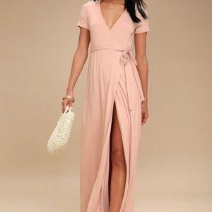 Lulu's Dresses - LULU'S EVOLVE PALE PINK WRAP MAXI DRESS